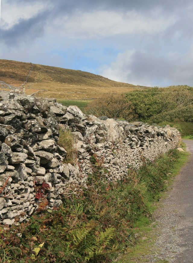 Rock wall along the path