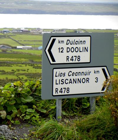Road Sign in Irish